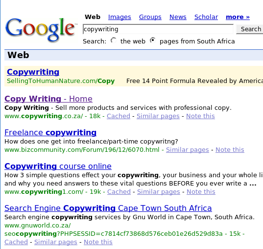 CopyWriting.co.za No.1 on Google.co.za
